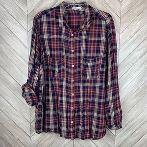 Button up flannel with open back slit 1x